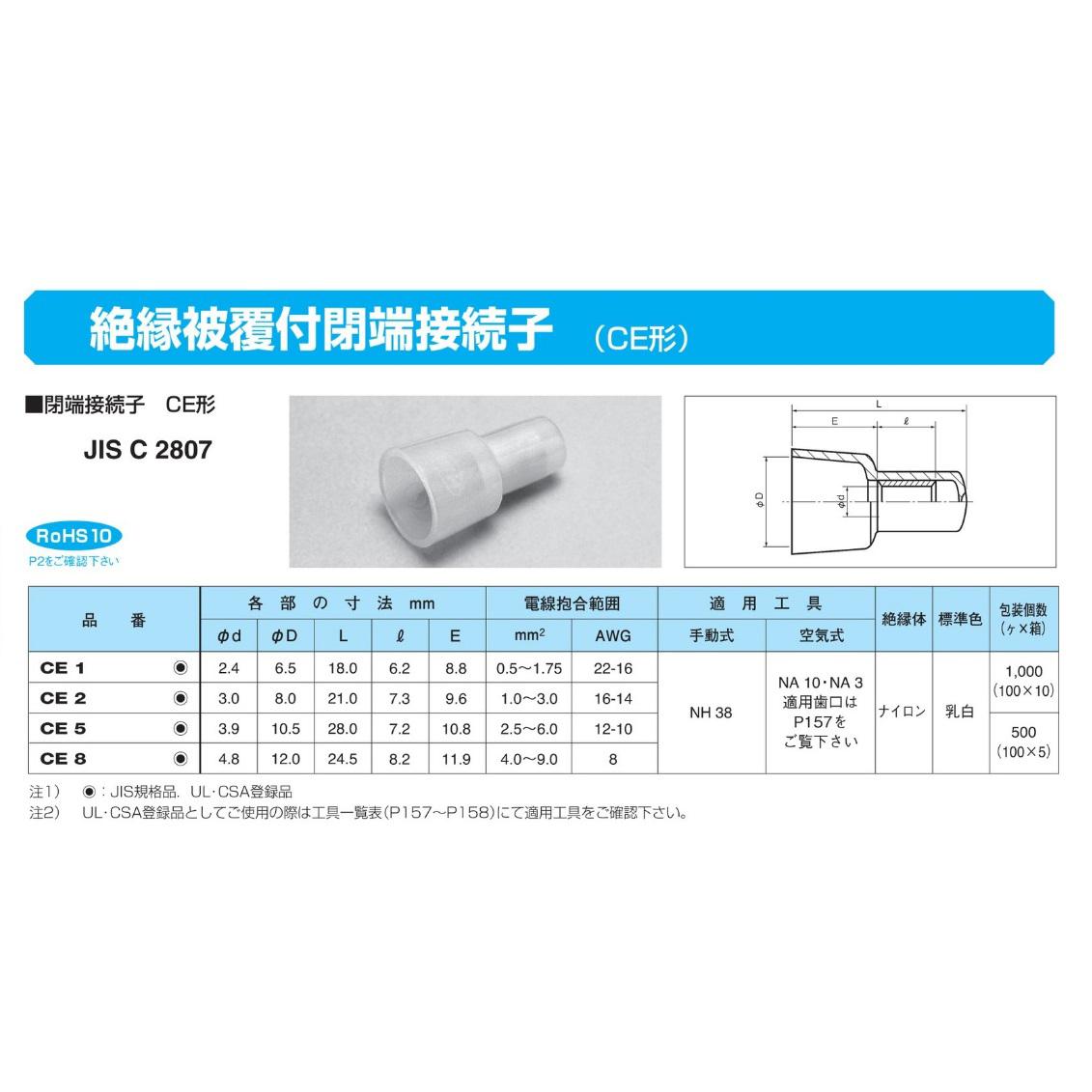 絶縁被覆付閉端接続子(CE型) バラ売り ニチフ