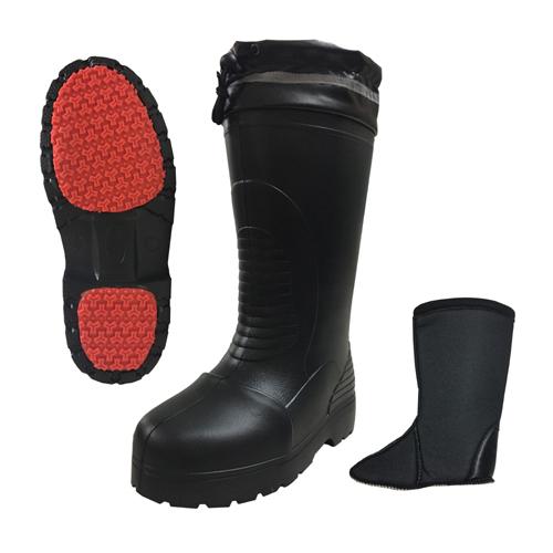 RE-6256 防寒ラバーセーフかるなが(長靴) 黒 富士手袋